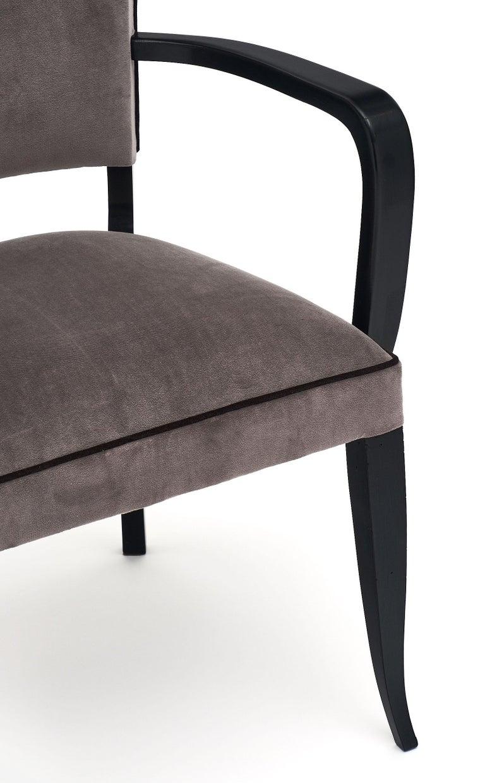 French Single Ebonized Art Deco Bridge Chair For Sale