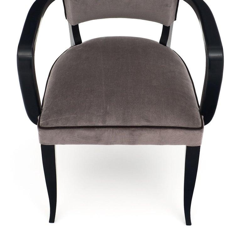 Single Ebonized Art Deco Bridge Chair In Good Condition For Sale In Austin, TX