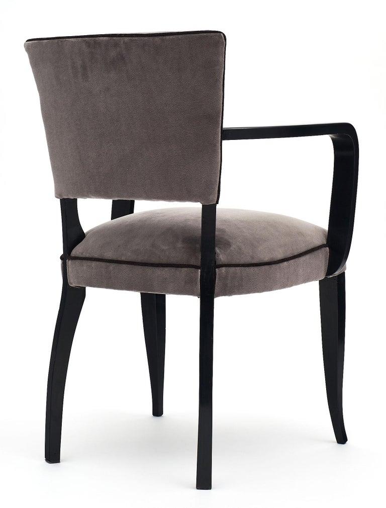 Velvet Single Ebonized Art Deco Bridge Chair For Sale