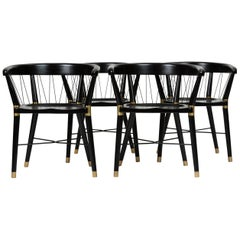 Single Ebonized Dining or Accent Chair with String Detail