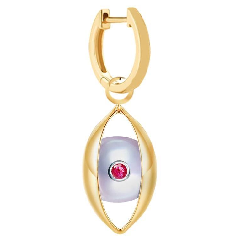 Single Eye Hoop Earring 18 Karat Yellow Gold Akoya Pearls Ruby Diamond