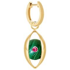 Single Eye Unisex Hoop Earring 18 Karat Yellow Gold Malachite Ruby Diamond