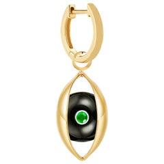 Single Eye Unisex Hoop Earring 18 Karat Yellow Gold Onyx Emerald Diamond