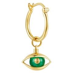Single Eye Unisex Mini Hoop Earring 18 Karat Yellow Gold Green Chalcedony Beads