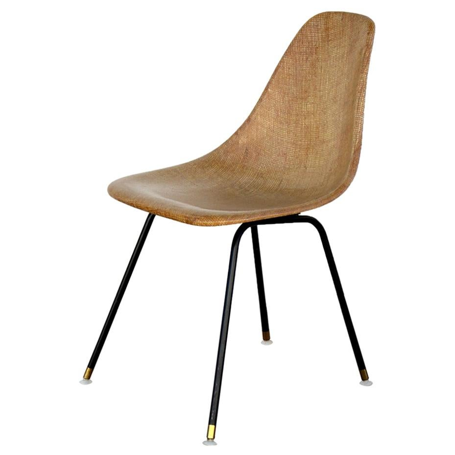 Single Fiberglass Encasted Fabric Mesh Chair by Eames for Herman Miller