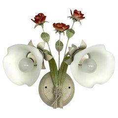 Single Florentine Austrian Floral Sconce, Austria, 1980s