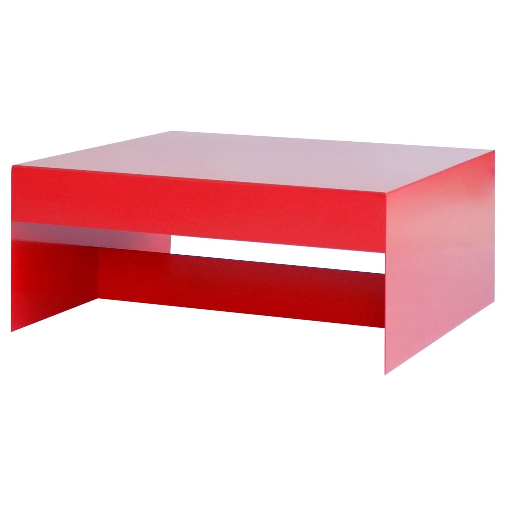 Red Single Form Square Aluminium Coffee Table - Customisable