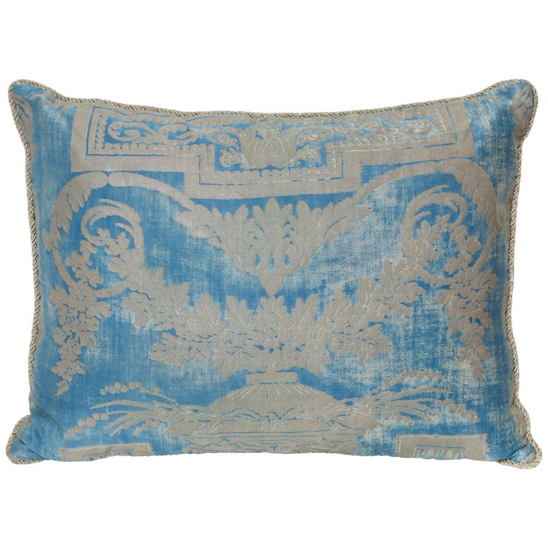 Single Fortuny Fabric Cushion in a Neoclassical Pattern For Sale