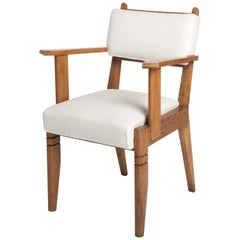 Single French Art Deco Oak Armchair by Charles Dudouyt