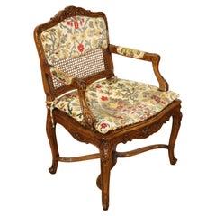 Single French Louis XV Cane Walnut Carved Boudoir or Corner Chair, Circa 1940