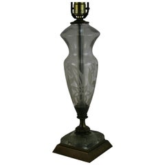 Single Frosted Glass and Brass Lamp