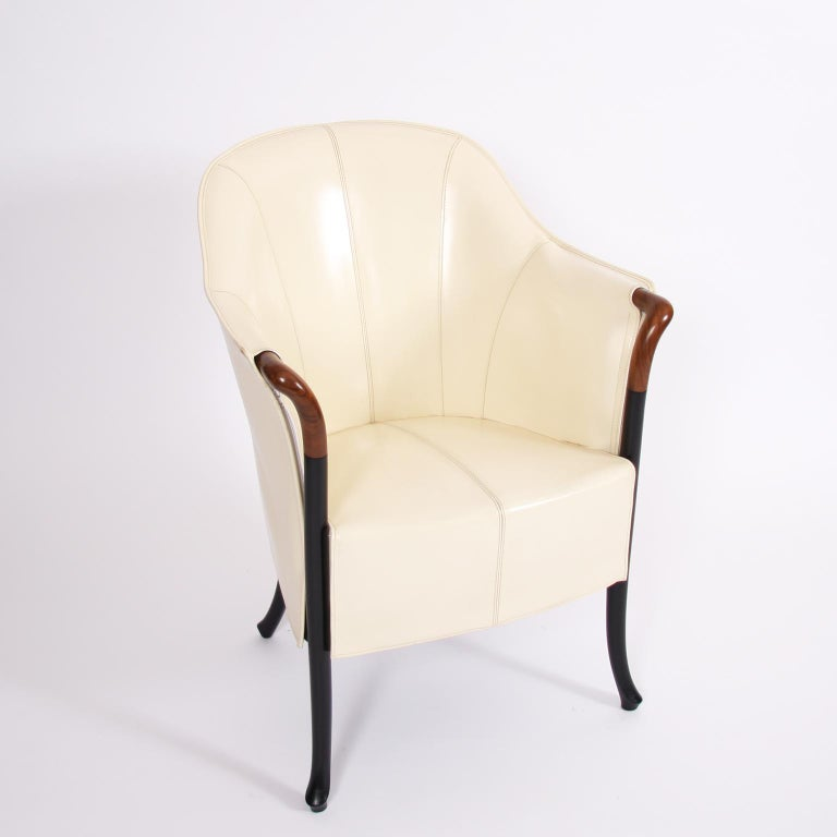 Italian Single Giorgetti Cream Leather Armchair For Sale