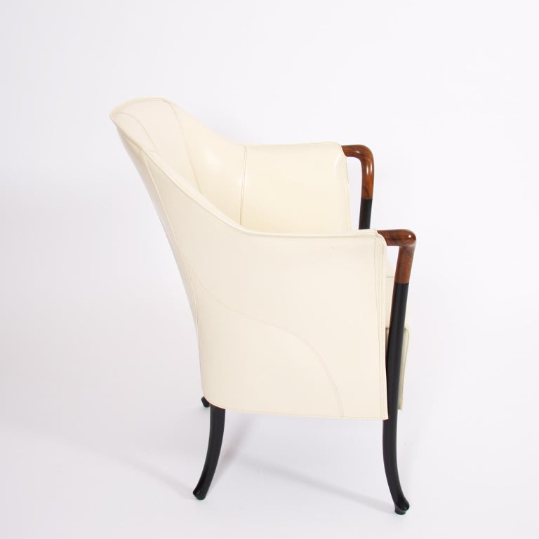 Single Giorgetti Cream Leather Armchair In Good Condition For Sale In London, GB