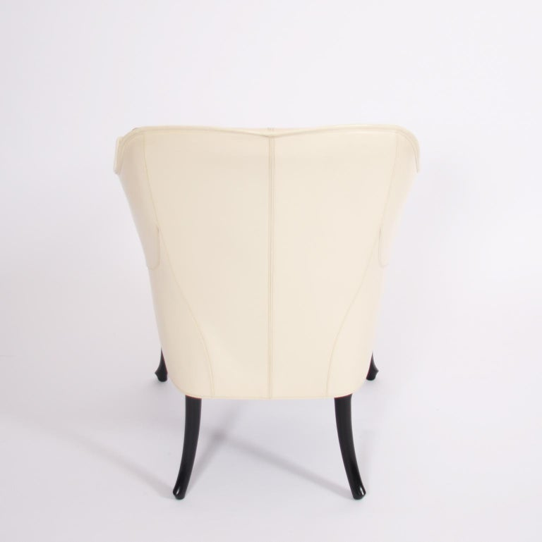 Single Giorgetti Cream Leather Armchair For Sale 1