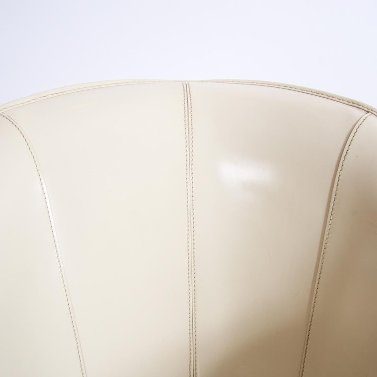 Single Giorgetti Cream Leather Armchair For Sale 2