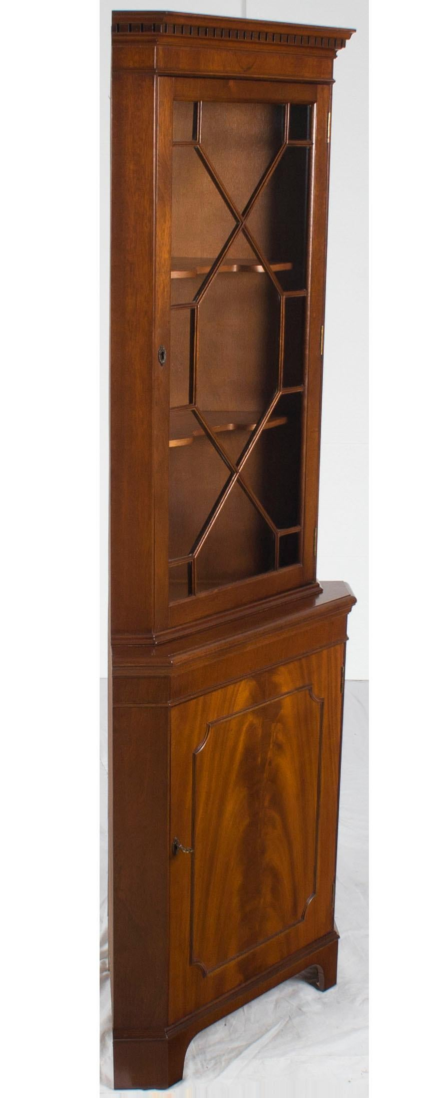 Single Glass Door Mahogany Tall Narrow Corner Cabinet Cupboard Hutch