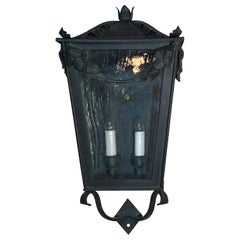 Single Hand Forged Iron Wall Lantern