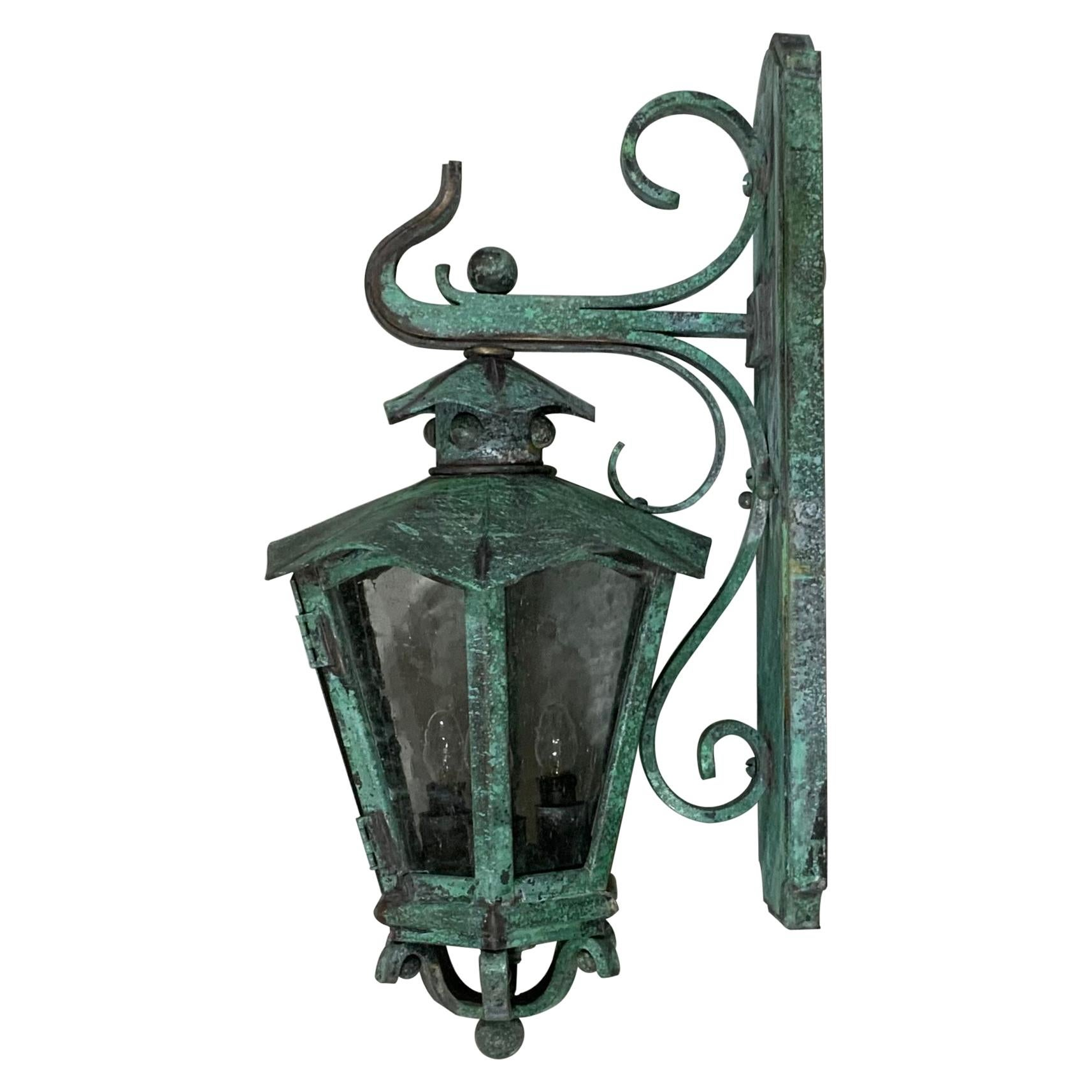 Single Handcrafted Solid Bronze and Brass Wall Lantern