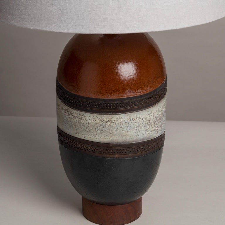 Late 20th Century Single Italian Glazed Ceramic Table Lamp, 1970s For Sale