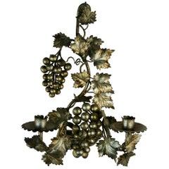 Single Italian Silver Leaf and Grape Sconce