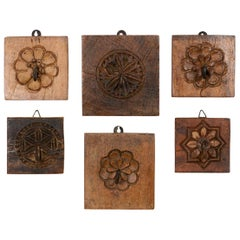 Single Key Hooks on Wooden Flower Boards, 20th Century