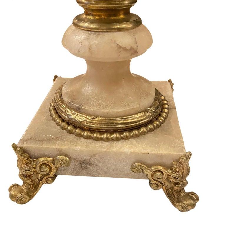 Carved Single Large Alabaster Lamp For Sale