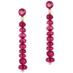 Goshwara  Rubelite Beads And Diamond Earrings