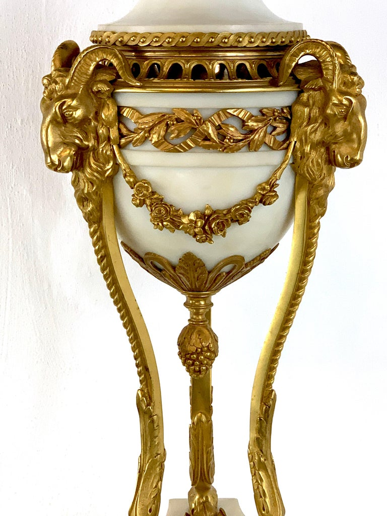 19th Century Single Louis XVI Style Ormolu and Marble Neoclassical Cassolette/Urn For Sale