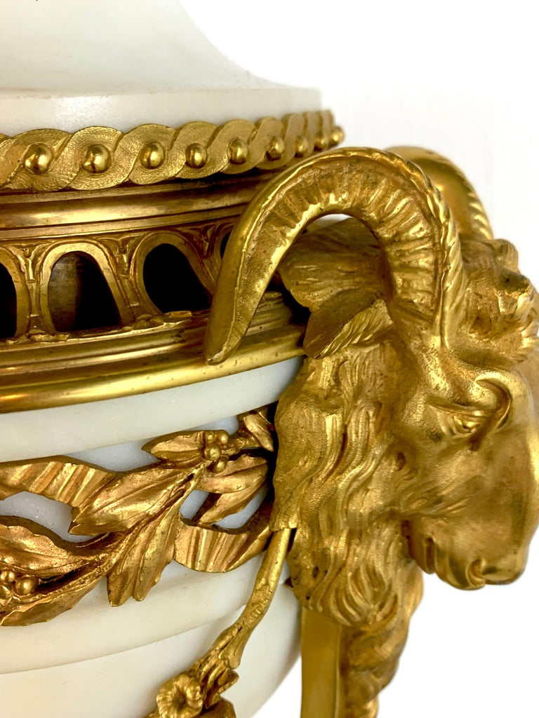 Single Louis XVI Style Ormolu and Marble Neoclassical Cassolette/Urn For Sale 1