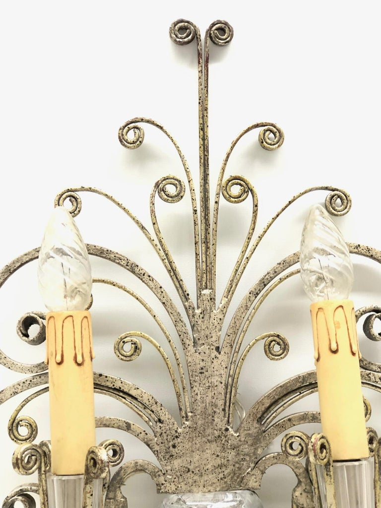Hollywood Regency Single Maison Baguès French Crystal Silvered Flower Wall Sconces For Sale