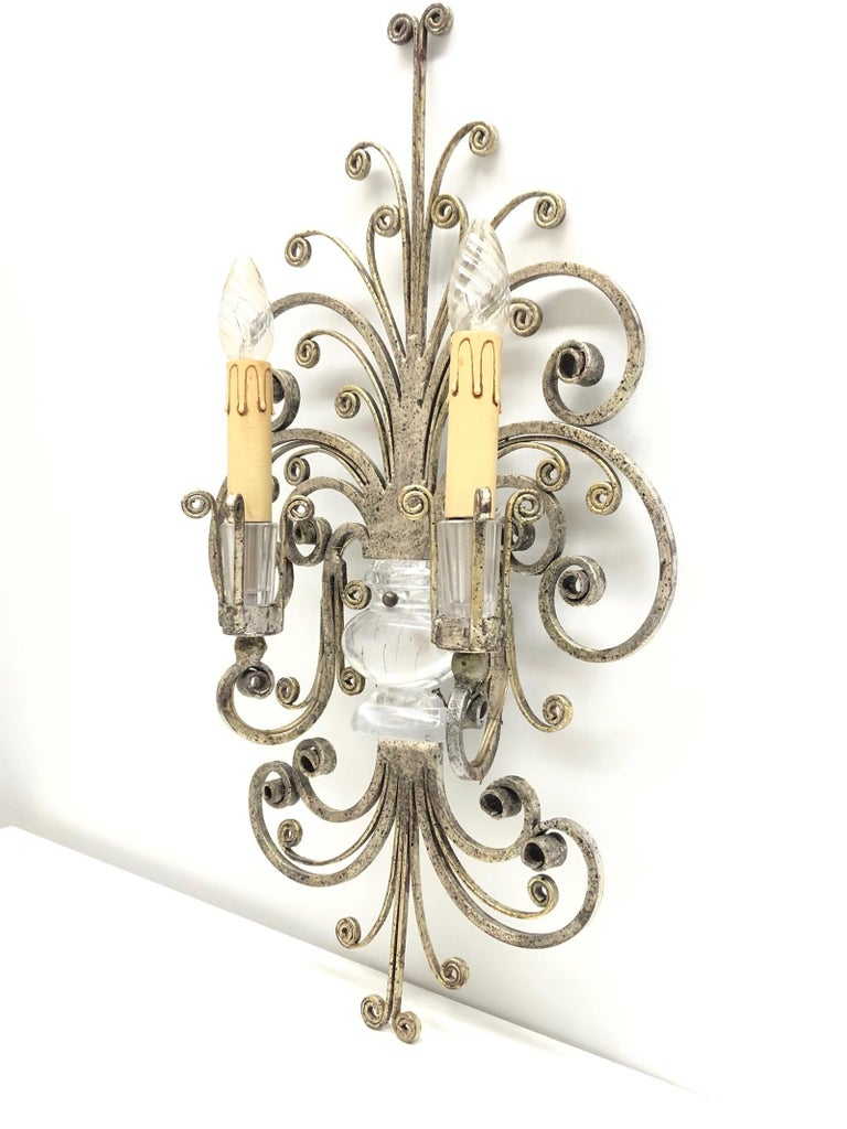 Mid-20th Century Single Maison Baguès French Crystal Silvered Flower Wall Sconces For Sale