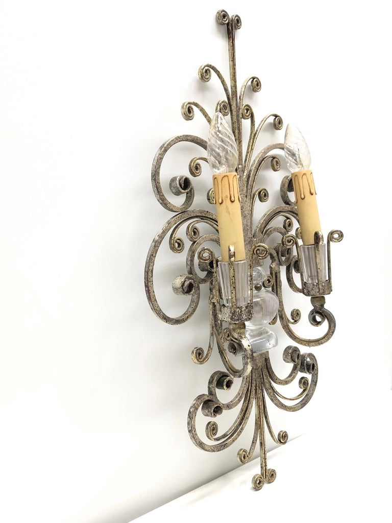 Metal Single Maison Baguès French Crystal Silvered Flower Wall Sconces For Sale