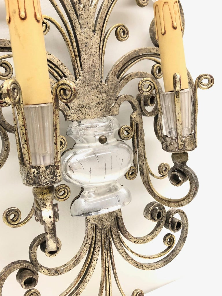 Single Maison Baguès French Crystal Silvered Flower Wall Sconces For Sale 2