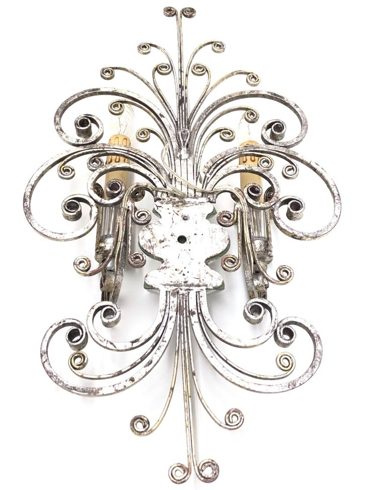 Single Maison Baguès French Crystal Silvered Flower Wall Sconces For Sale 3