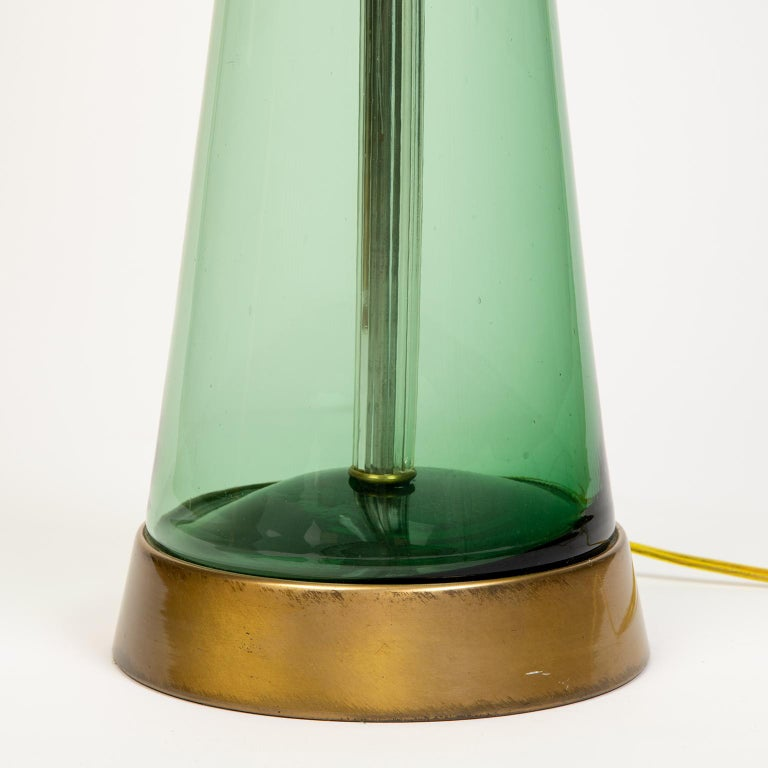 Single Midcentury Glass Lamp Attributed to Blenko Glass In Good Condition In Toronto, ON