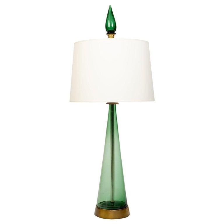 Single Midcentury Glass Lamp Attributed to Blenko Glass