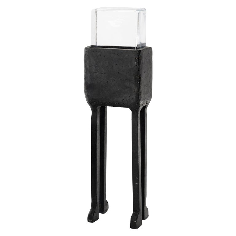 Single Modern Geometric Hand-Sculpted Glass/Blackened Steel LED Light Table Lamp For Sale