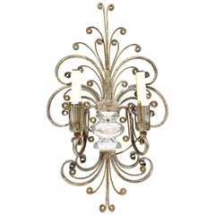 Single Monumental Italian Crystal Urn Motif Flower Wall Sconce by Banci Florence