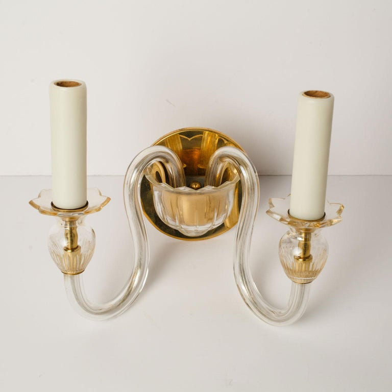 Mid-Century Modern Single Murano Two-Arm Sconce For Sale
