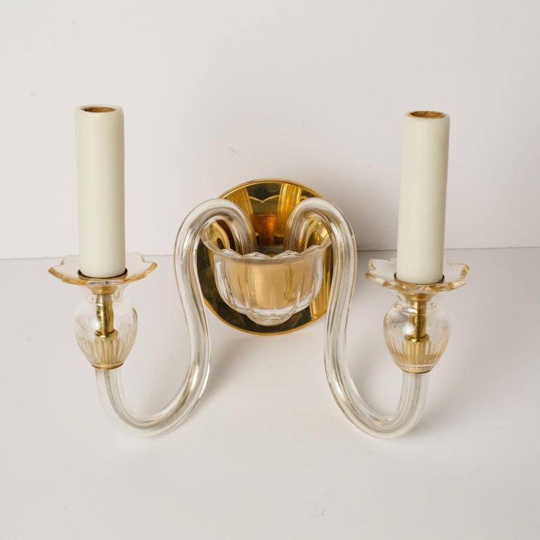 Hand-Crafted Single Murano Two-Arm Sconce For Sale