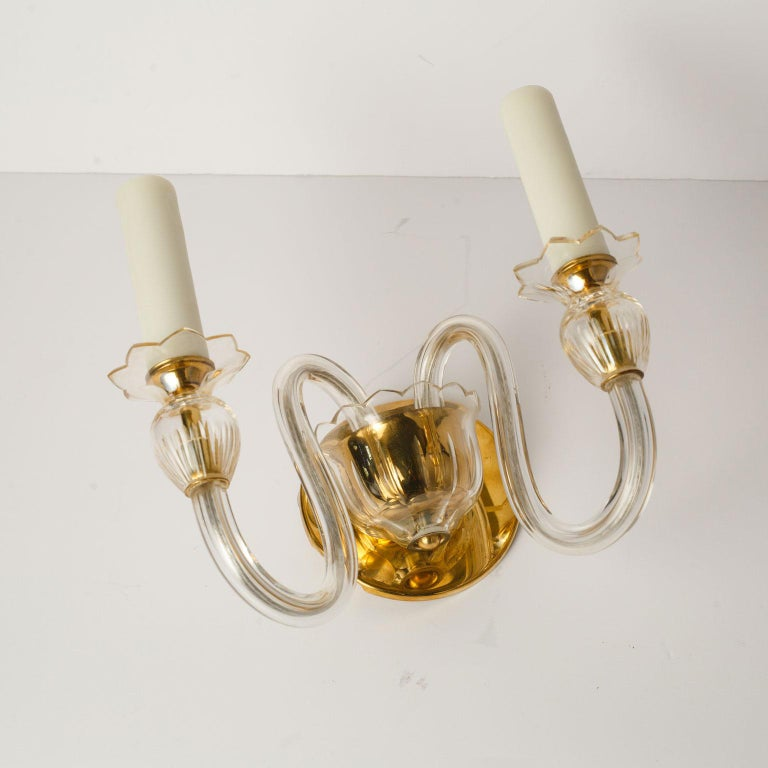 Mid-20th Century Single Murano Two-Arm Sconce For Sale