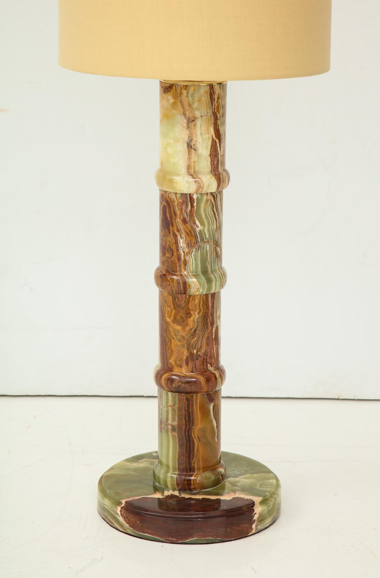 Beautiful onyx table lamp in brown, green and various shades of tan, rewired, original shade.