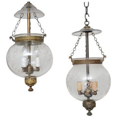 Single or Close Pair, Late 19th Century English, Blown Glass Globes with Etching