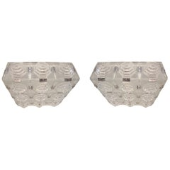 Single or Pair of Art Deco Revival Glass Flush Mount Ceiling Squares