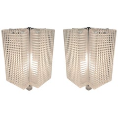 Single or Pair of Midcentury Glass Table Lamps with Polished Nickeled Trim
