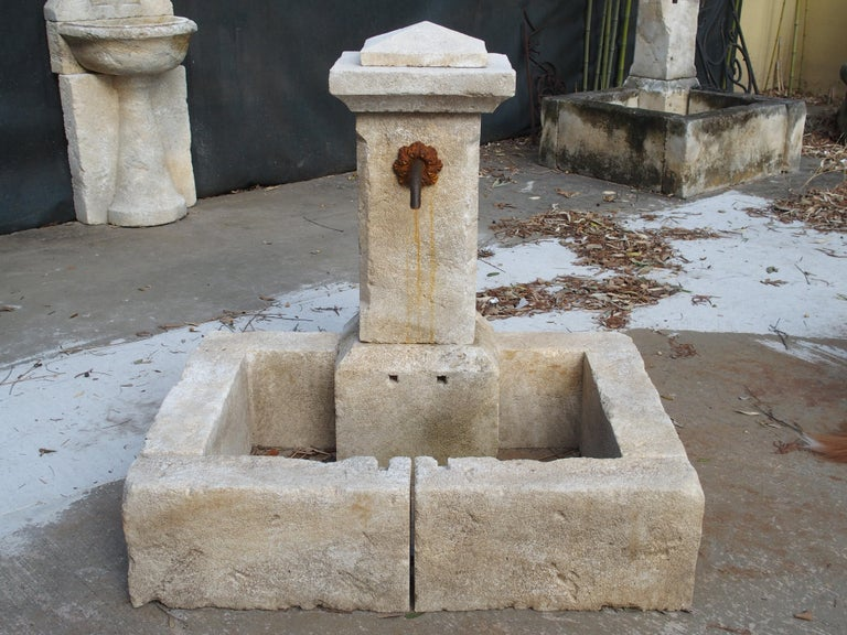 Contemporary Single Pillar French Limestone Fountain from Provence For Sale