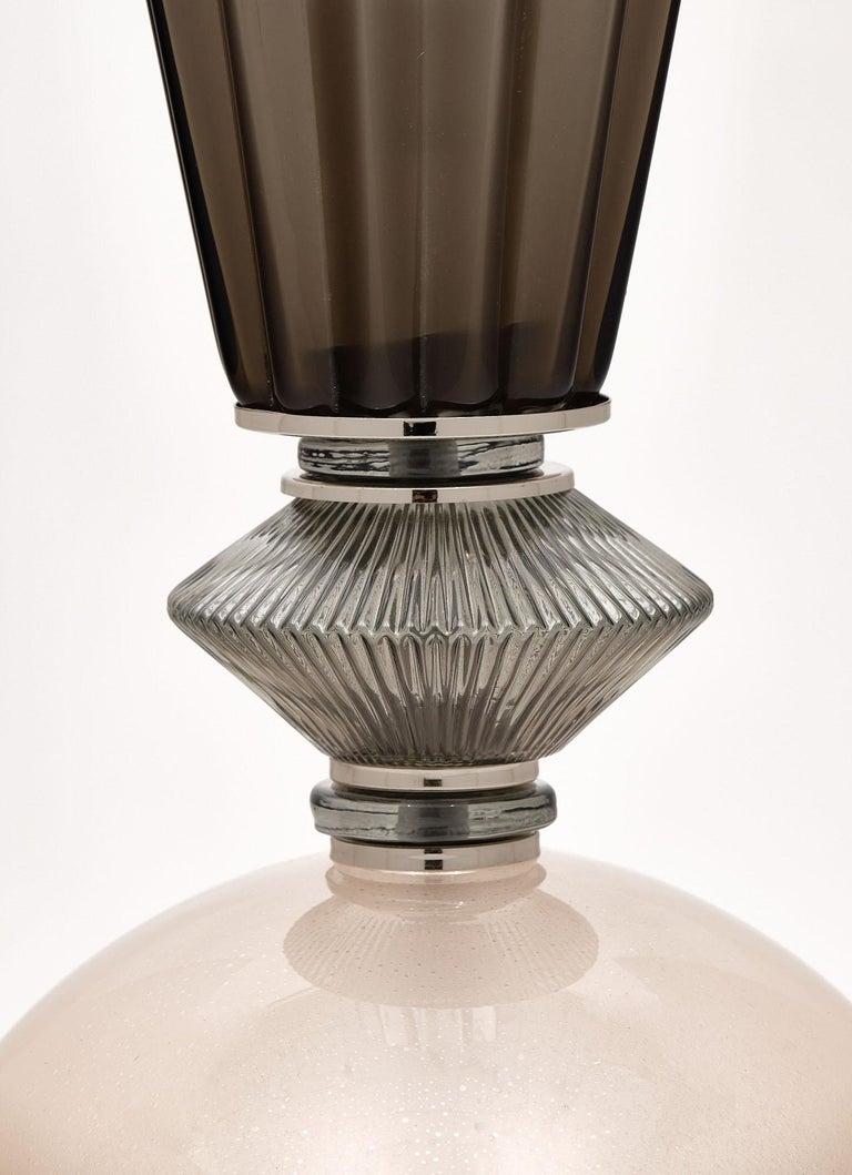 Italian Single Pink Murano Glass Lamp For Sale