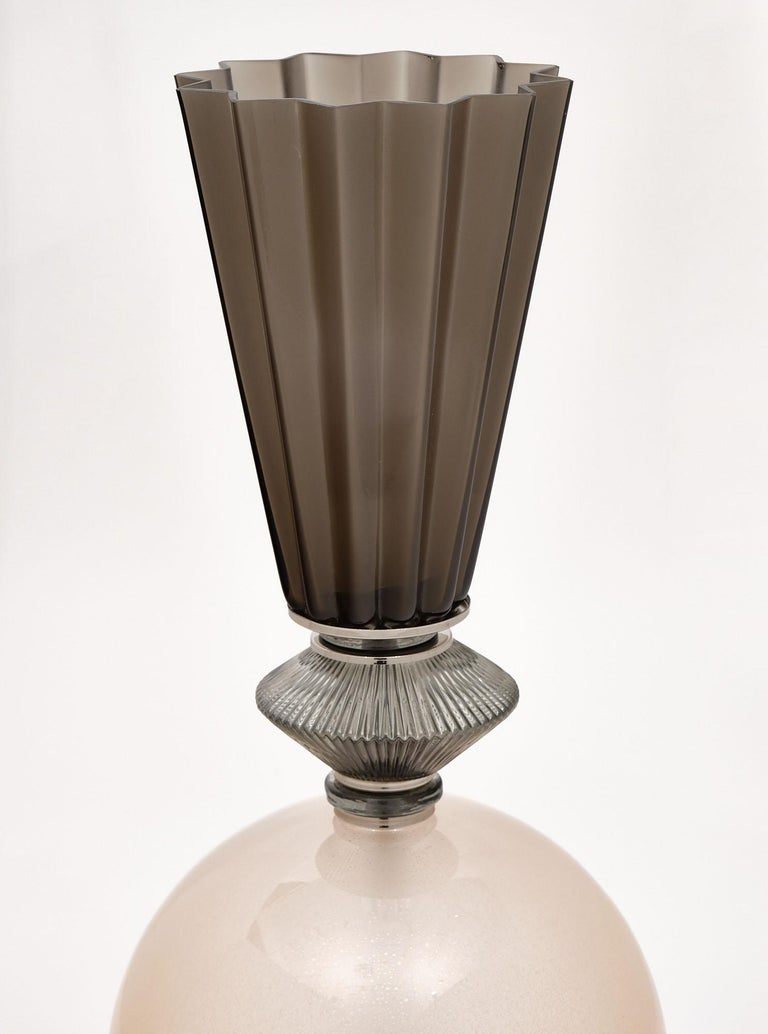 Contemporary Single Pink Murano Glass Lamp For Sale