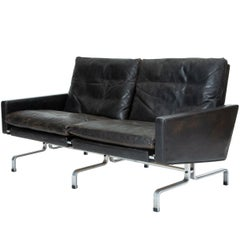 Black Leather PK 31/2  Loveseat by Poul Kjaerholm for E. Kold Christensen