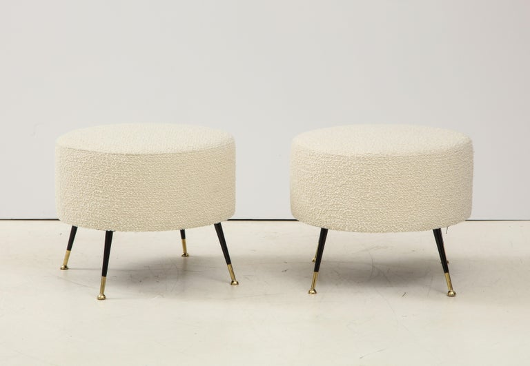 Italian Single Round Stool or Pouf in Ivory Boucle Brass Legs, Italy, 2021 For Sale